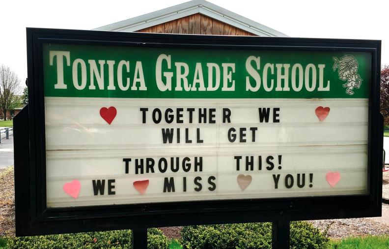 Tonica Grade School Sign